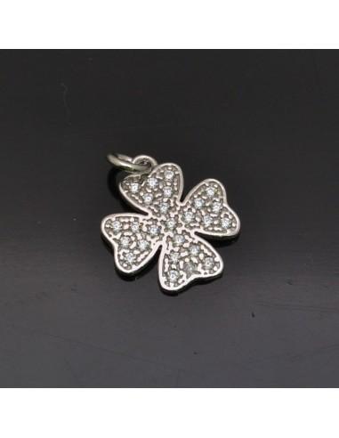 Ciondolo Quadrifoglio 16x14mm anella 5mm in argento 925% Made in Italy