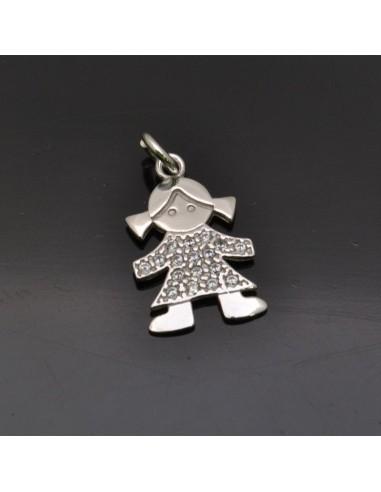 Ciondolo Bambina 17x11 mm anella 5 mm in argento 925% Made in Italy