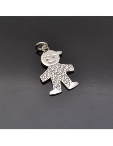 Ciondolo Bambino 19x12 mm anella 5 mm in argento 925% Made in Italy